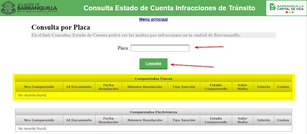 Consultar multas por placa en Barranquilla